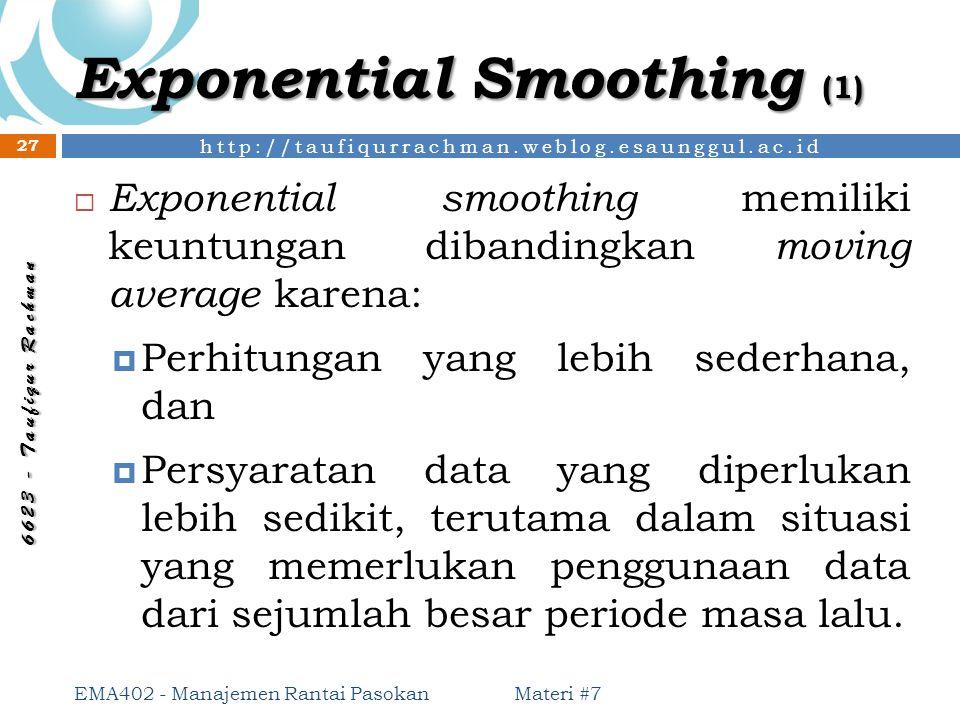 http://taufiqurrachman.weblog.esaunggul.ac.id 6 6 2 3 - T a u f i q u r R a c h m a n Exponential Smoothing (1) Materi #7 EMA402 - Manajemen Rantai Pa