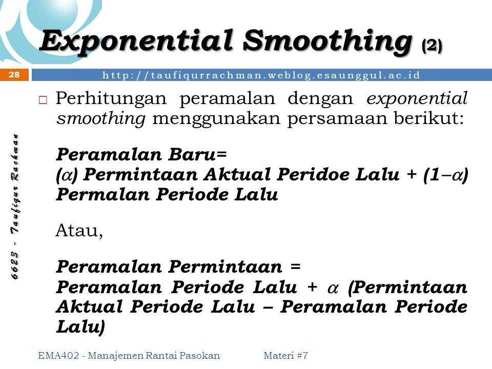 http://taufiqurrachman.weblog.esaunggul.ac.id 6 6 2 3 - T a u f i q u r R a c h m a n Exponential Smoothing (2) Materi #7 EMA402 - Manajemen Rantai Pa