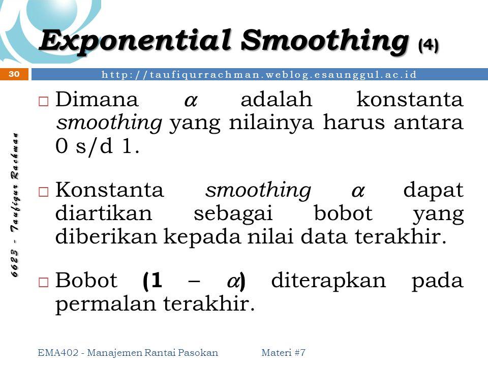 http://taufiqurrachman.weblog.esaunggul.ac.id 6 6 2 3 - T a u f i q u r R a c h m a n Exponential Smoothing (4)  Dimana  adalah konstanta smoothing
