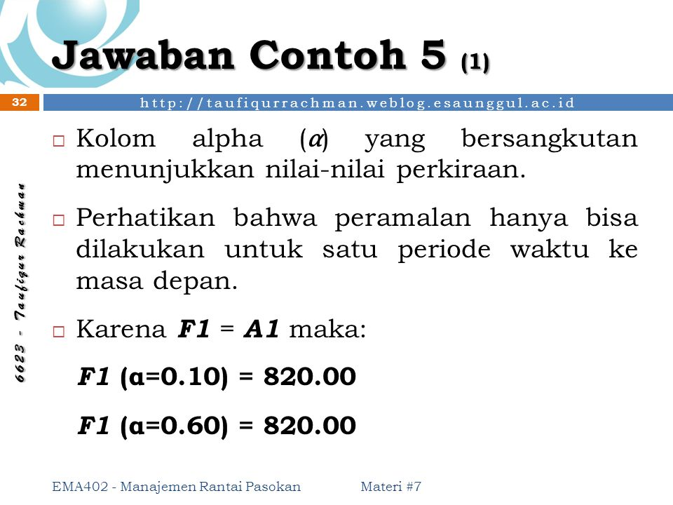http://taufiqurrachman.weblog.esaunggul.ac.id 6 6 2 3 - T a u f i q u r R a c h m a n Jawaban Contoh 5 (1) Materi #7 EMA402 - Manajemen Rantai Pasokan