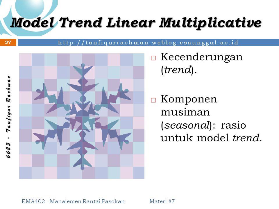http://taufiqurrachman.weblog.esaunggul.ac.id 6 6 2 3 - T a u f i q u r R a c h m a n Model Trend Linear Multiplicative  Kecenderungan ( trend ).  K