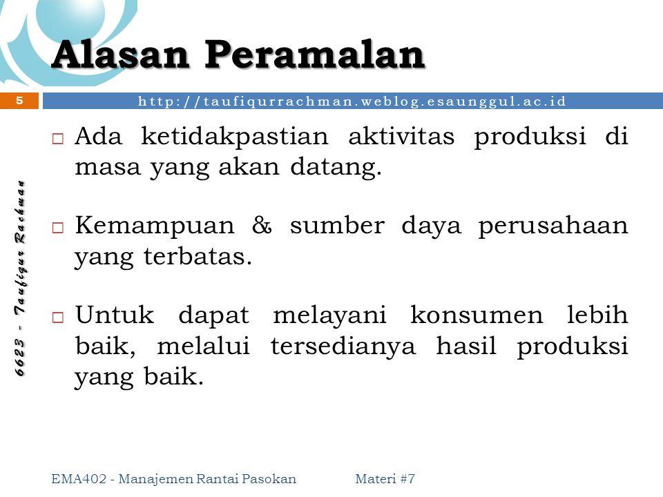 http://taufiqurrachman.weblog.esaunggul.ac.id 6 6 2 3 - T a u f i q u r R a c h m a n Alasan Peramalan  Ada ketidakpastian aktivitas produksi di masa