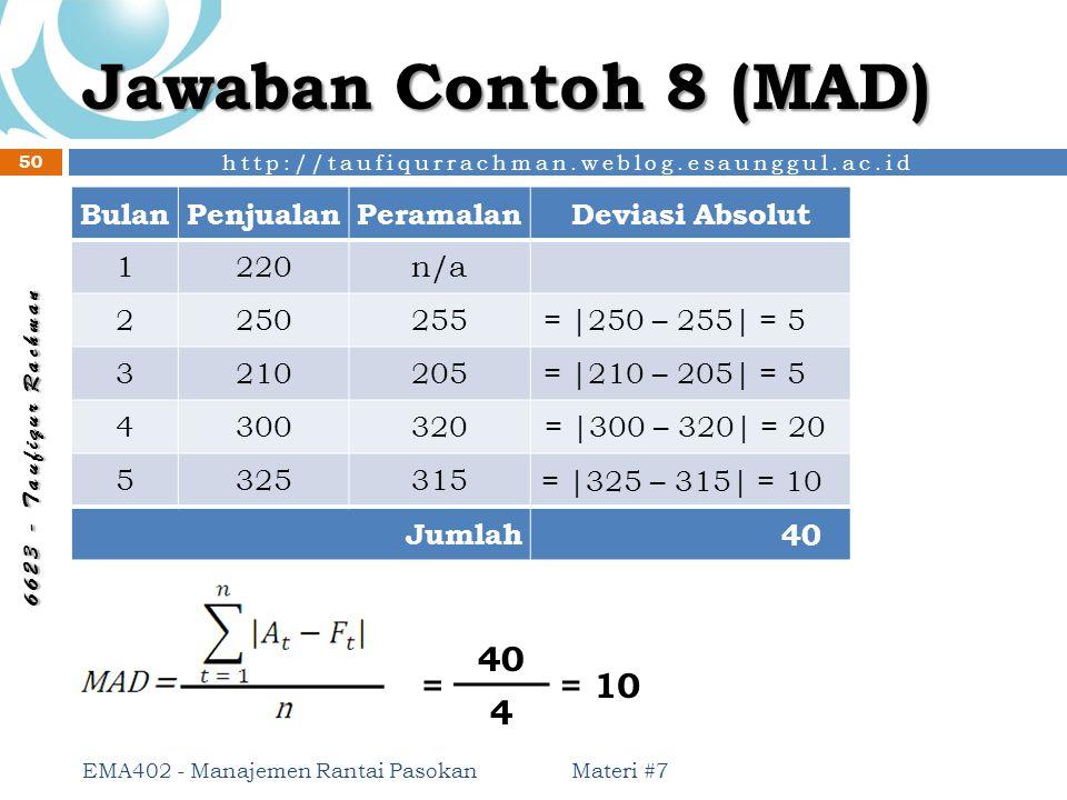 http://taufiqurrachman.weblog.esaunggul.ac.id 6 6 2 3 - T a u f i q u r R a c h m a n Jawaban Contoh 8 (MAD) Materi #7 EMA402 - Manajemen Rantai Pasok