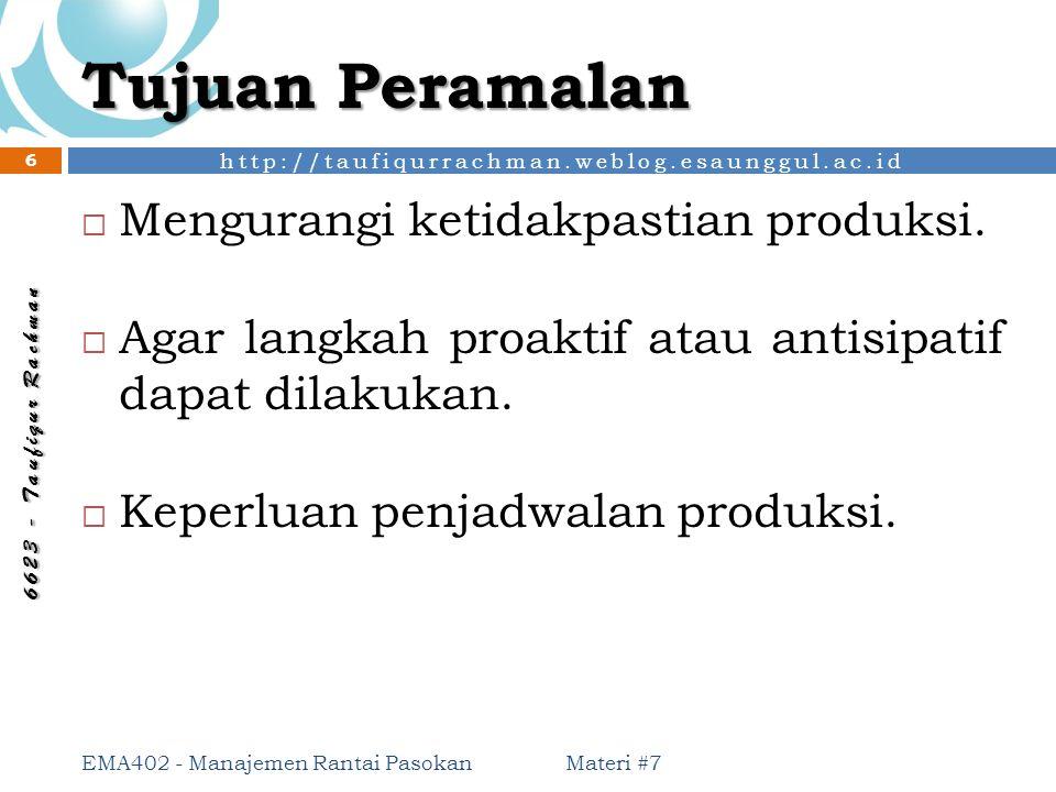 http://taufiqurrachman.weblog.esaunggul.ac.id 6 6 2 3 - T a u f i q u r R a c h m a n Tujuan Peramalan  Mengurangi ketidakpastian produksi.  Agar la