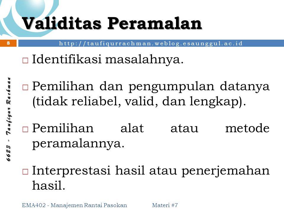 http://taufiqurrachman.weblog.esaunggul.ac.id 6 6 2 3 - T a u f i q u r R a c h m a n Validitas Peramalan  Identifikasi masalahnya.  Pemilihan dan p