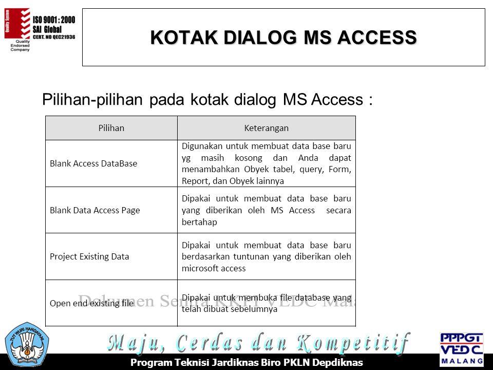 KOTAK DIALOG MS ACCESS Program Teknisi Jardiknas Biro PKLN Depdiknas Pilihan-pilihan pada kotak dialog MS Access :