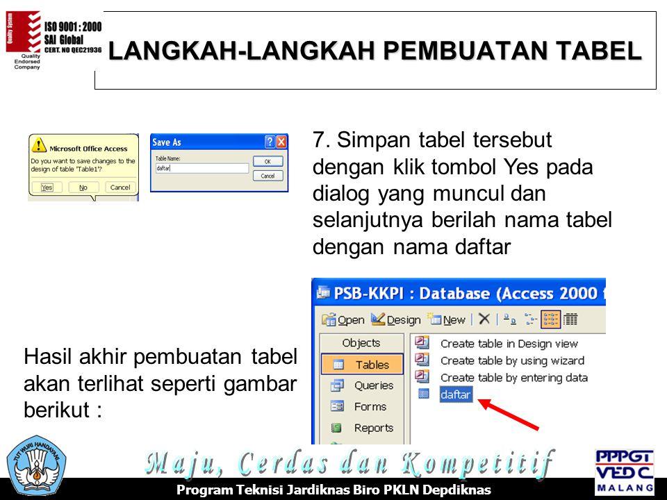 LANGKAH-LANGKAH PEMBUATAN TABEL Program Teknisi Jardiknas Biro PKLN Depdiknas 7.