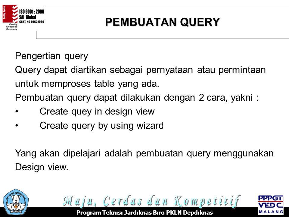 PEMBUATAN QUERY Program Teknisi Jardiknas Biro PKLN Depdiknas Pengertian query Query dapat diartikan sebagai pernyataan atau permintaan untuk memproses table yang ada.