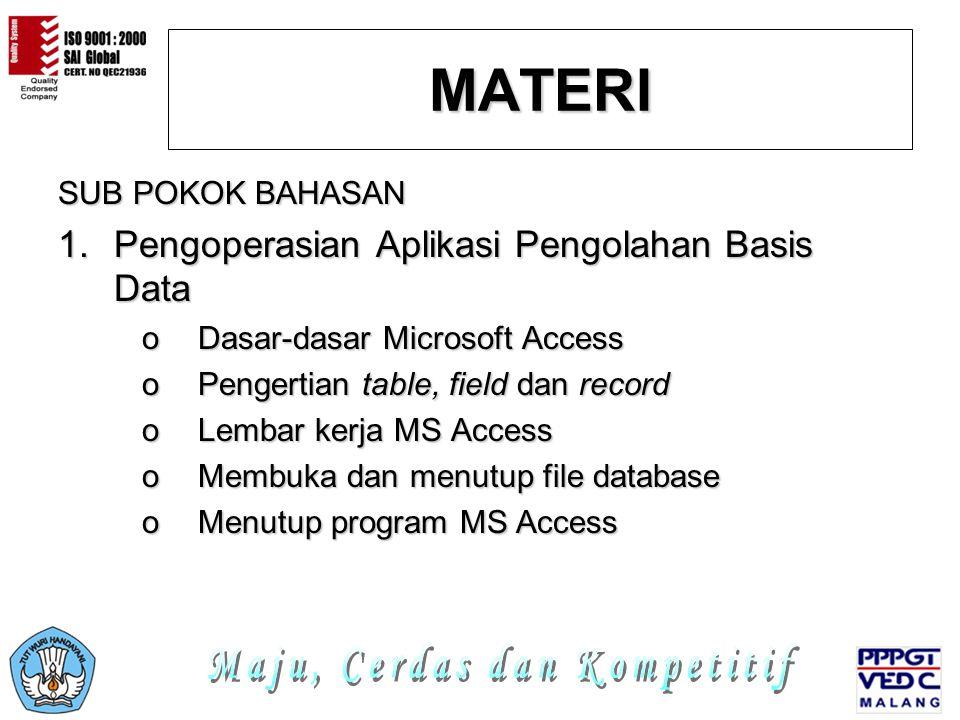MATERI SUB POKOK BAHASAN 1.P engoperasian Aplikasi Pengolahan Basis Data oDoDoDoDasar-dasar Microsoft Access oPoPoPoPengertian table, field dan record oLoLoLoLembar kerja MS Access oMoMoMoMembuka dan menutup file database oMoMoMoMenutup program MS Access