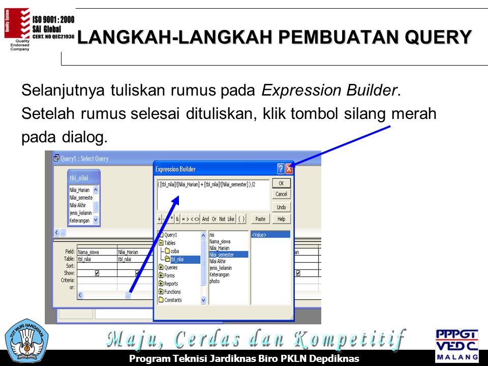 LANGKAH-LANGKAH PEMBUATAN QUERY Program Teknisi Jardiknas Biro PKLN Depdiknas Selanjutnya tuliskan rumus pada Expression Builder.