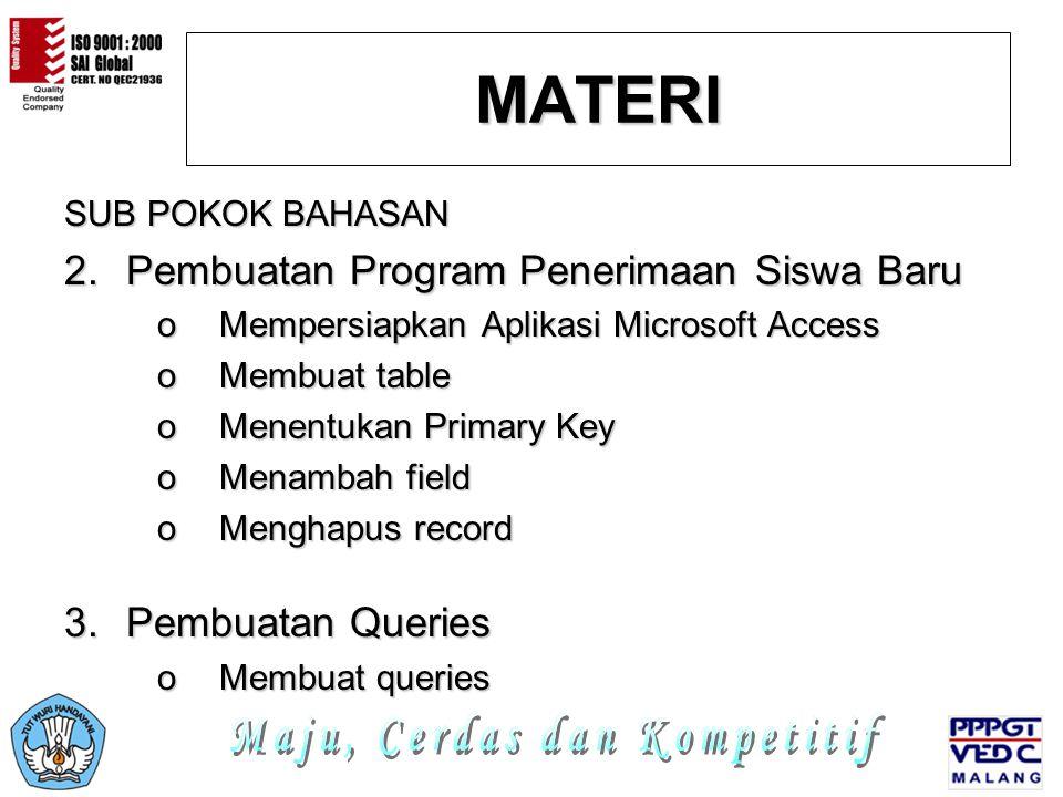 PENGATURAN FORM Program Teknisi Jardiknas Biro PKLN Depdiknas 8.