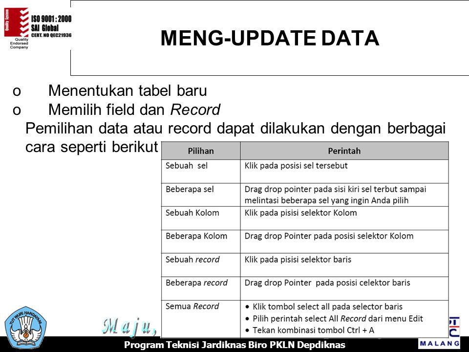 MENG-UPDATE DATA Program Teknisi Jardiknas Biro PKLN Depdiknas o Menentukan tabel baru o Memilih field dan Record Pemilihan data atau record dapat dilakukan dengan berbagai cara seperti berikut :