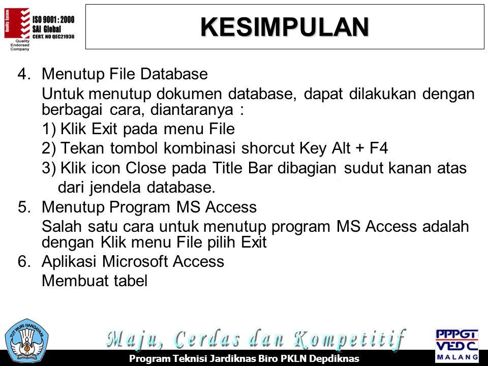 4.Menutup File Database Untuk menutup dokumen database, dapat dilakukan dengan berbagai cara, diantaranya : 1) Klik Exit pada menu File 2) Tekan tombol kombinasi shorcut Key Alt + F4 3) Klik icon Close pada Title Bar dibagian sudut kanan atas dari jendela database.