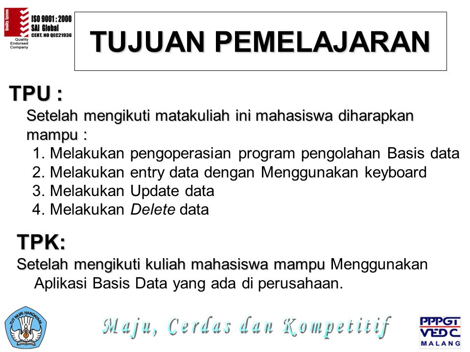 LANGKAH-LANGKAH PEMBUATAN TABEL Program Teknisi Jardiknas Biro PKLN Depdiknas 3.