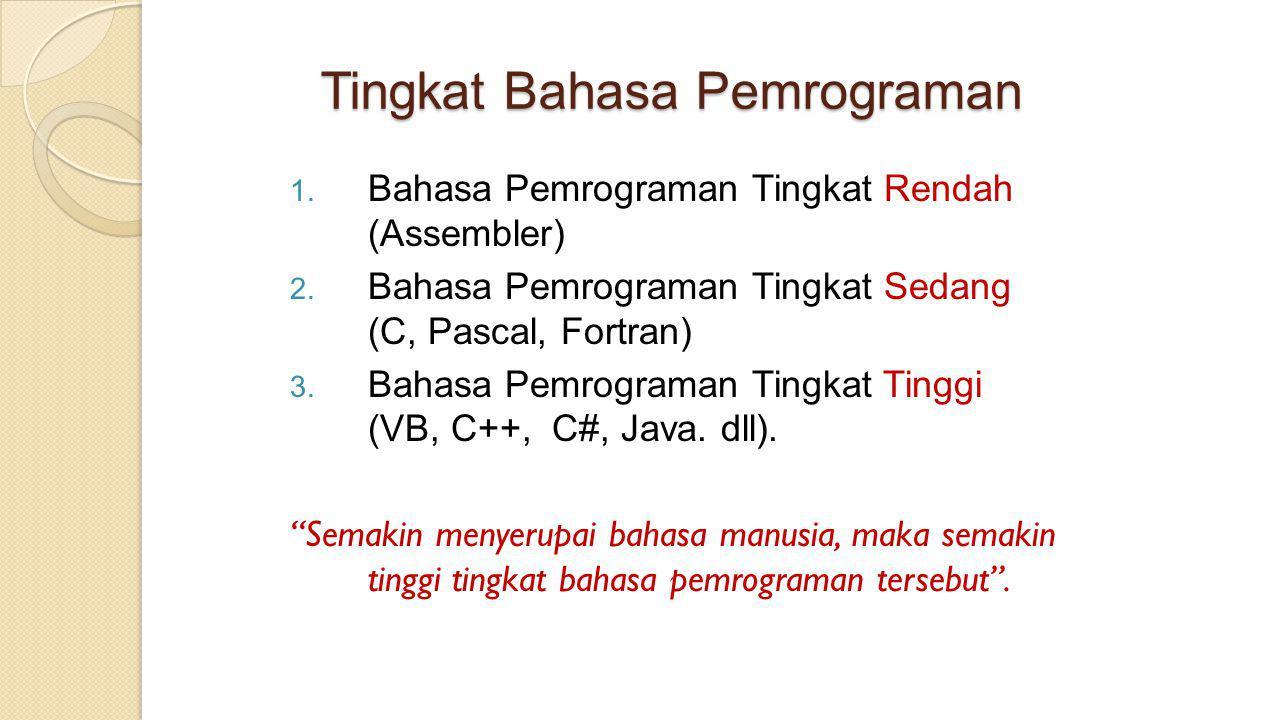 Tingkat Bahasa Pemrograman 1. Bahasa Pemrograman Tingkat Rendah (Assembler) 2. Bahasa Pemrograman Tingkat Sedang (C, Pascal, Fortran) 3. Bahasa Pemrog