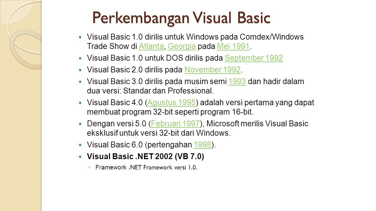 Perkembangan Visual Basic  Visual Basic 1.0 dirilis untuk Windows pada Comdex/Windows Trade Show di Atlanta, Georgia pada Mei 1991.AtlantaGeorgiaMei