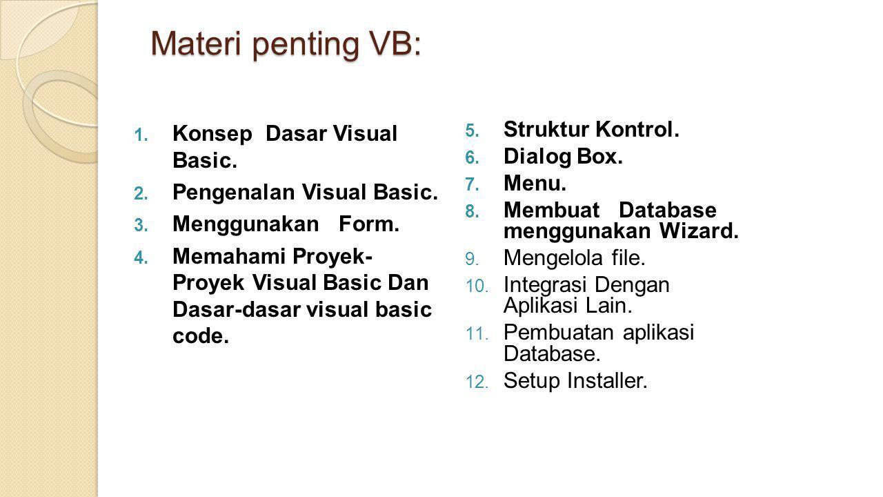 Materi penting VB:  Konsep Dasar Visual Basic.  Pengenalan Visual Basic.  Menggunakan Form.  Memahami Proyek- Proyek Visual Basic Dan Dasar-da