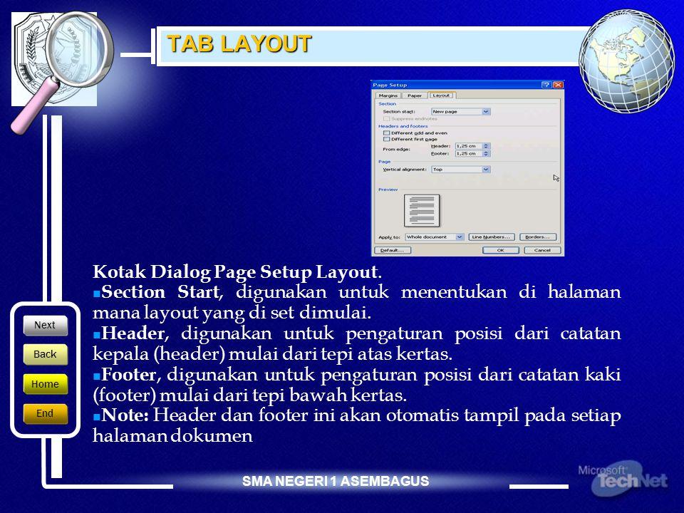 SMA NEGERI 1 ASEMBAGUS TAB PAPER  Paper size, digunakan untuk mengatur ukuran kertas yang digunakan.