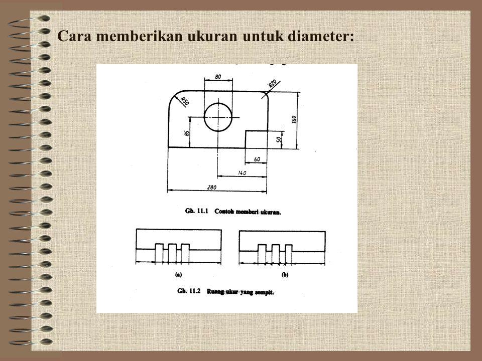 Cara memberikan ukuran untuk diameter: