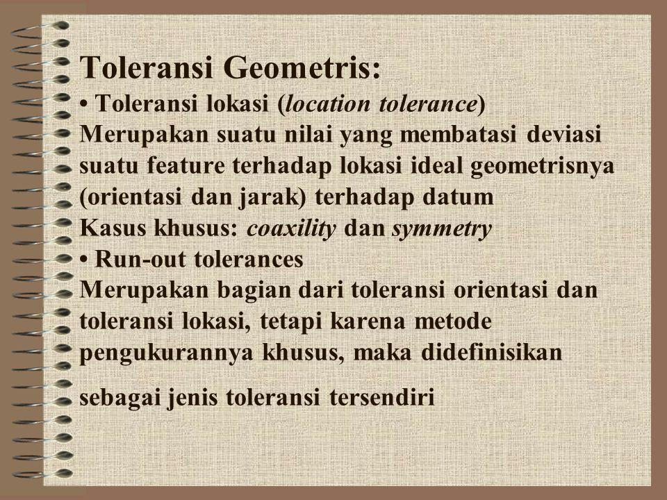 Toleransi Geometris: • Toleransi lokasi (location tolerance) Merupakan suatu nilai yang membatasi deviasi suatu feature terhadap lokasi ideal geometri