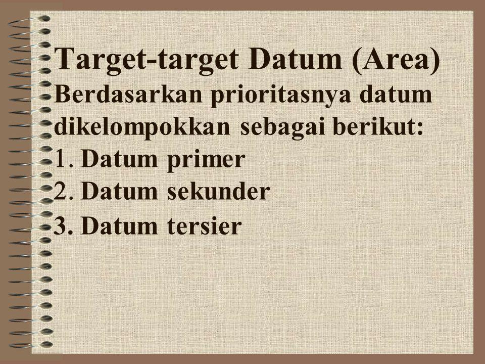 Target-target Datum (Area) Berdasarkan prioritasnya datum dikelompokkan sebagai berikut:  Datum primer  Datum sekunder 3. Datum tersier