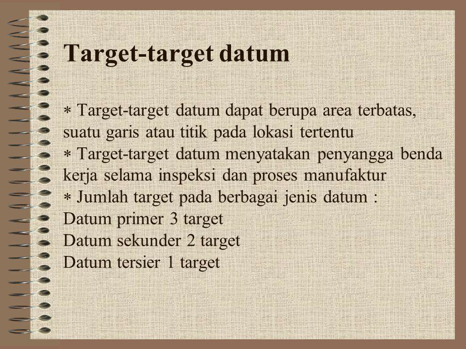 Target-target datum  Target-target datum dapat berupa area terbatas, suatu garis atau titik pada lokasi tertentu  Target-target datum menyatakan p