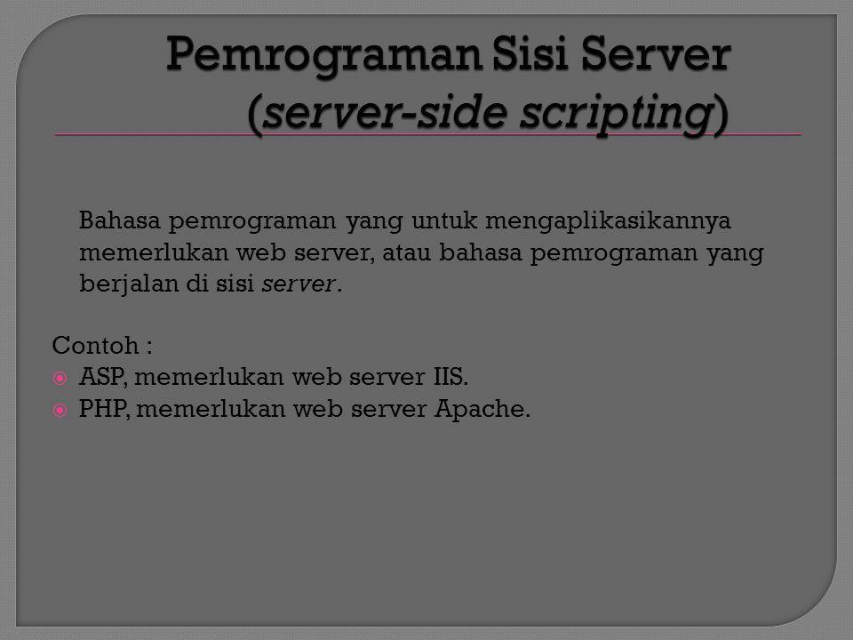 Request (URL) Response (Content) Klien (PC)Web Server HTTP Server Web Browser Content Request (URL) Response (Content)
