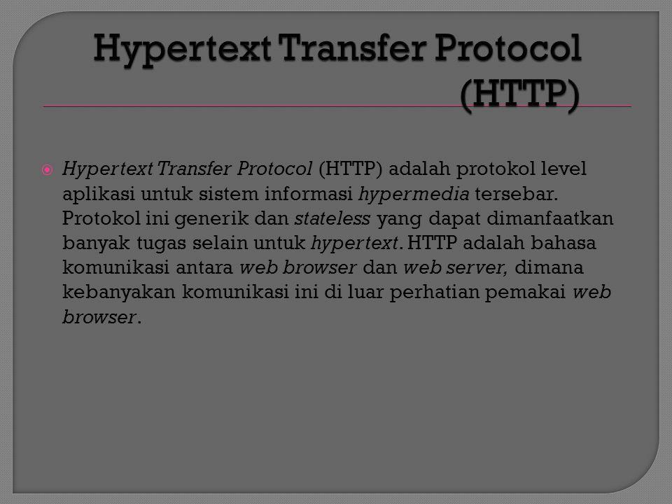  URL adalah penunjuk ke sumber daya tertentu di jaringan TCP/IP (internet) yang mempunyai format sintaks standar sebagai berikut.