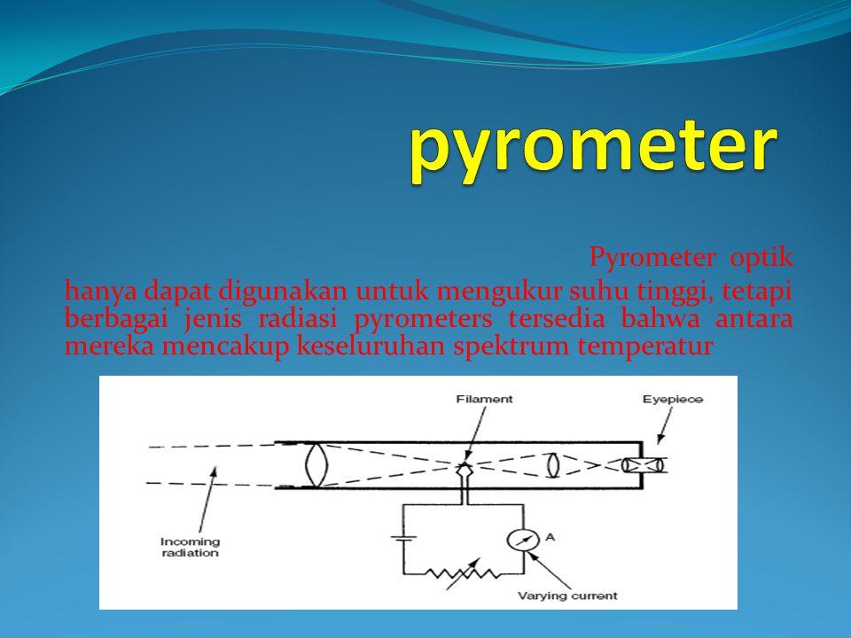 Pyrometer optik hanya dapat digunakan untuk mengukur suhu tinggi, tetapi berbagai jenis radiasi pyrometers tersedia bahwa antara mereka mencakup kesel
