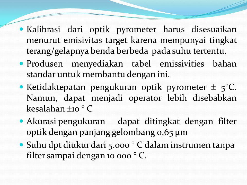  Kalibrasi dari optik pyrometer harus disesuaikan menurut emisivitas target karena mempunyai tingkat terang/gelapnya benda berbeda pada suhu tertentu