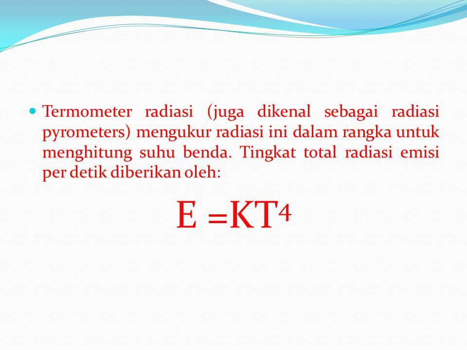  Termometer radiasi (juga dikenal sebagai radiasi pyrometers) mengukur radiasi ini dalam rangka untuk menghitung suhu benda. Tingkat total radiasi em