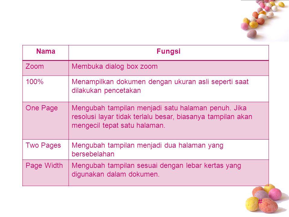 # NamaFungsi ZoomMembuka dialog box zoom 100%Menampilkan dokumen dengan ukuran asli seperti saat dilakukan pencetakan One PageMengubah tampilan menjad