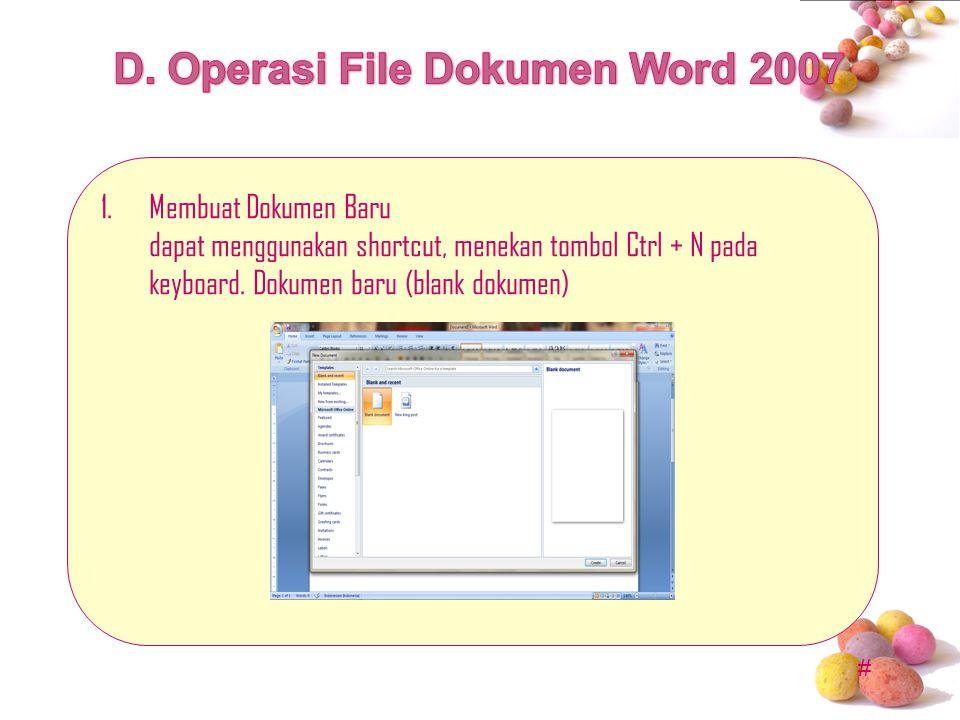 # 1.Membuat Dokumen Baru dapat menggunakan shortcut, menekan tombol Ctrl + N pada keyboard. Dokumen baru (blank dokumen)