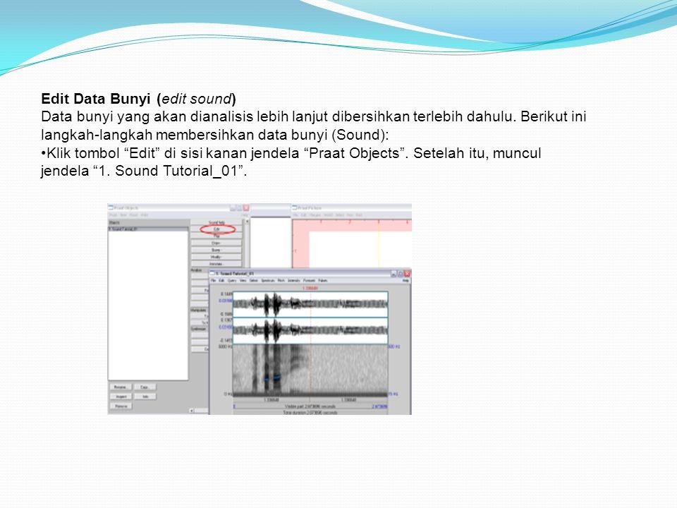 Edit Data Bunyi (edit sound) Data bunyi yang akan dianalisis lebih lanjut dibersihkan terlebih dahulu. Berikut ini langkah-langkah membersihkan data b