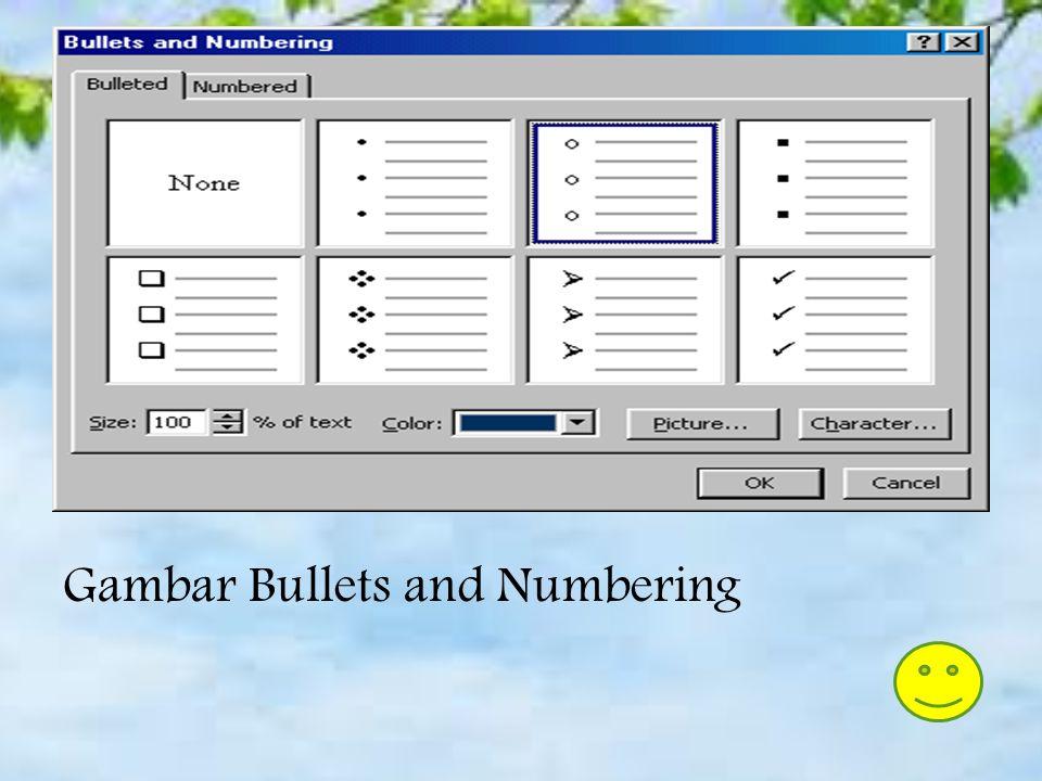 Daftar Tanda Bullet pada Kotak teks 1. Pada slide view, buat kotak teks dengan memilih Insert|Text Box dari menu bar. 2. Buat kotak teks pada slide da