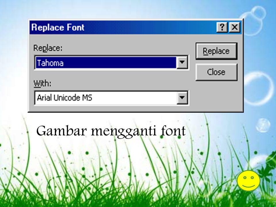 Mengganti Fonts Desain template memiliki pilihan untuk mengganti font yang digunakan untuk presentasi untuk keadaan tertentu. Perubahan font dapat dil