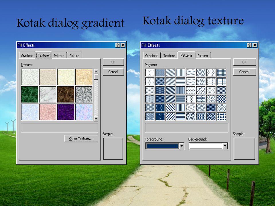 Merubah warna teks dan garis Kotak dialog fill effect