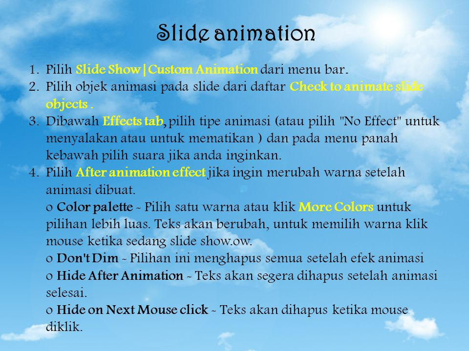 Tampilan Slide Slide animation Tampilan animasi Slide transition Slide Master