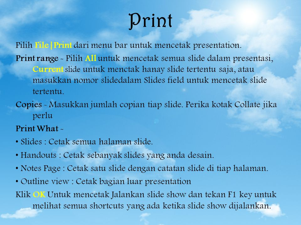 Print and Save Presentation Save Print
