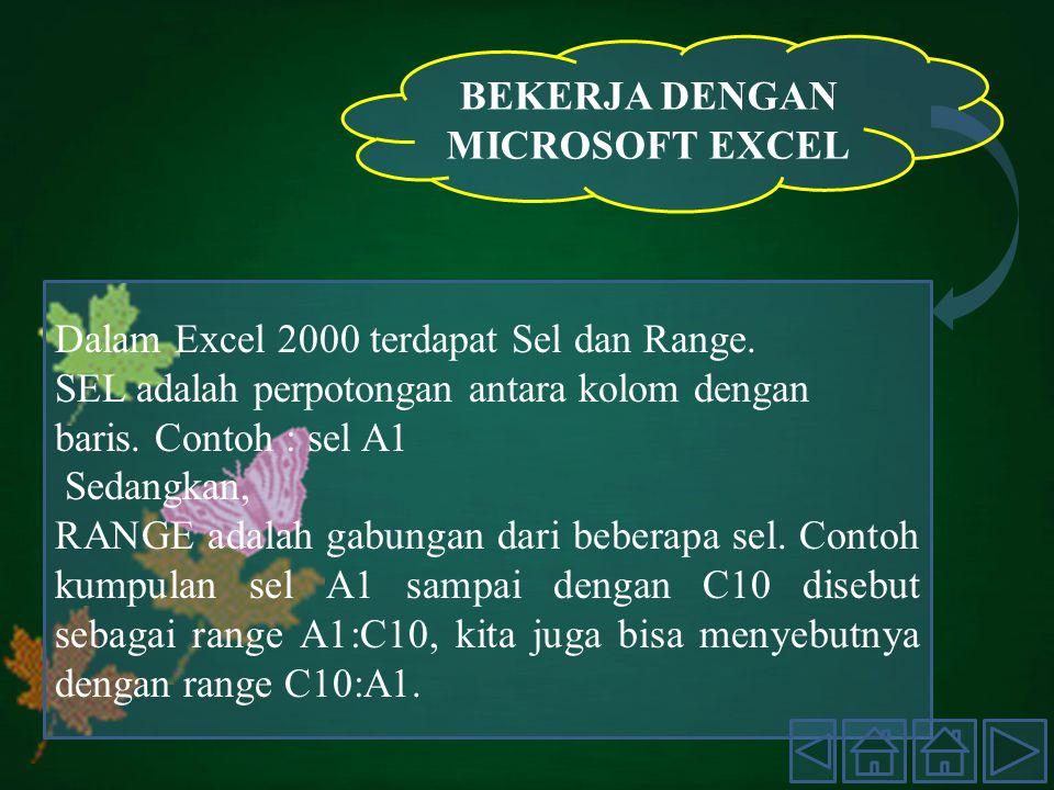 BEKERJA DENGAN MICROSOFT EXCEL Dalam Excel 2000 terdapat Sel dan Range.