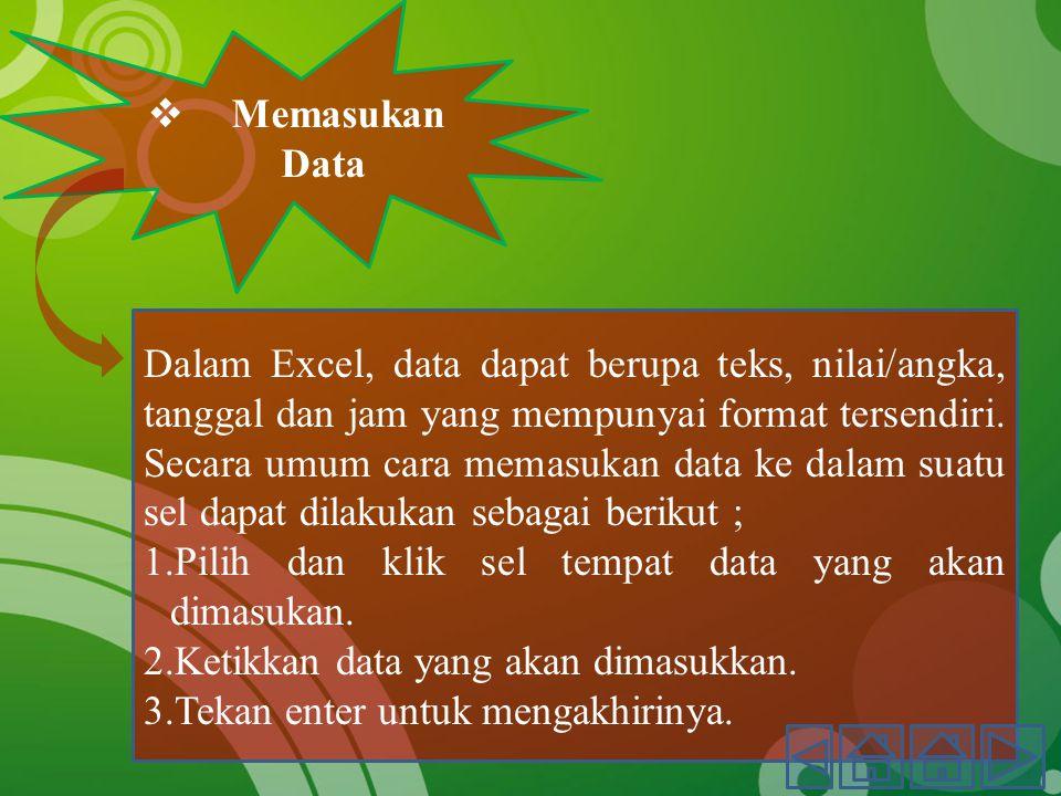  Memasukan Data Dalam Excel, data dapat berupa teks, nilai/angka, tanggal dan jam yang mempunyai format tersendiri.