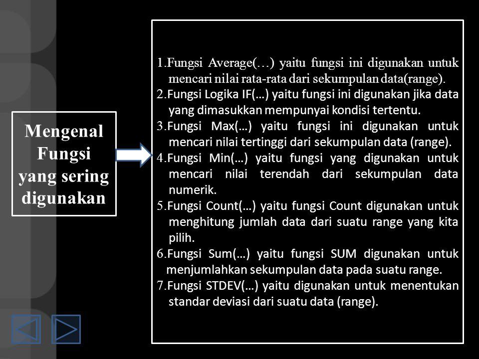Mengenal Fungsi yang sering digunakan 1.Fungsi Average(…) yaitu fungsi ini digunakan untuk mencari nilai rata-rata dari sekumpulan data(range).