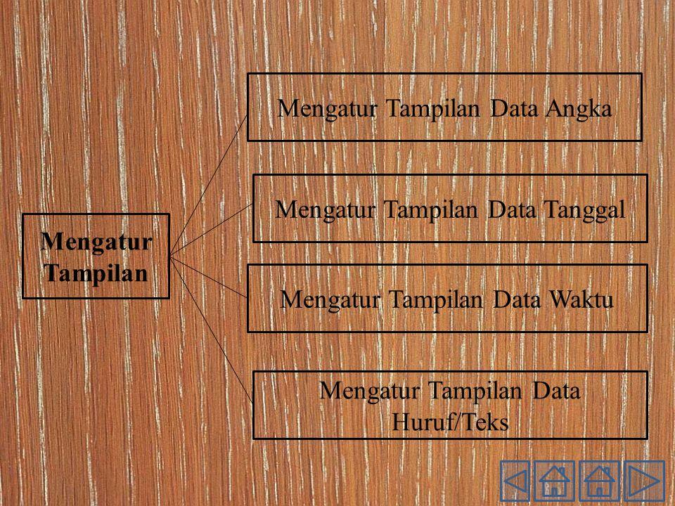Mengatur Tampilan Mengatur Tampilan Data Angka Mengatur Tampilan Data Huruf/Teks Mengatur Tampilan Data Waktu Mengatur Tampilan Data Tanggal