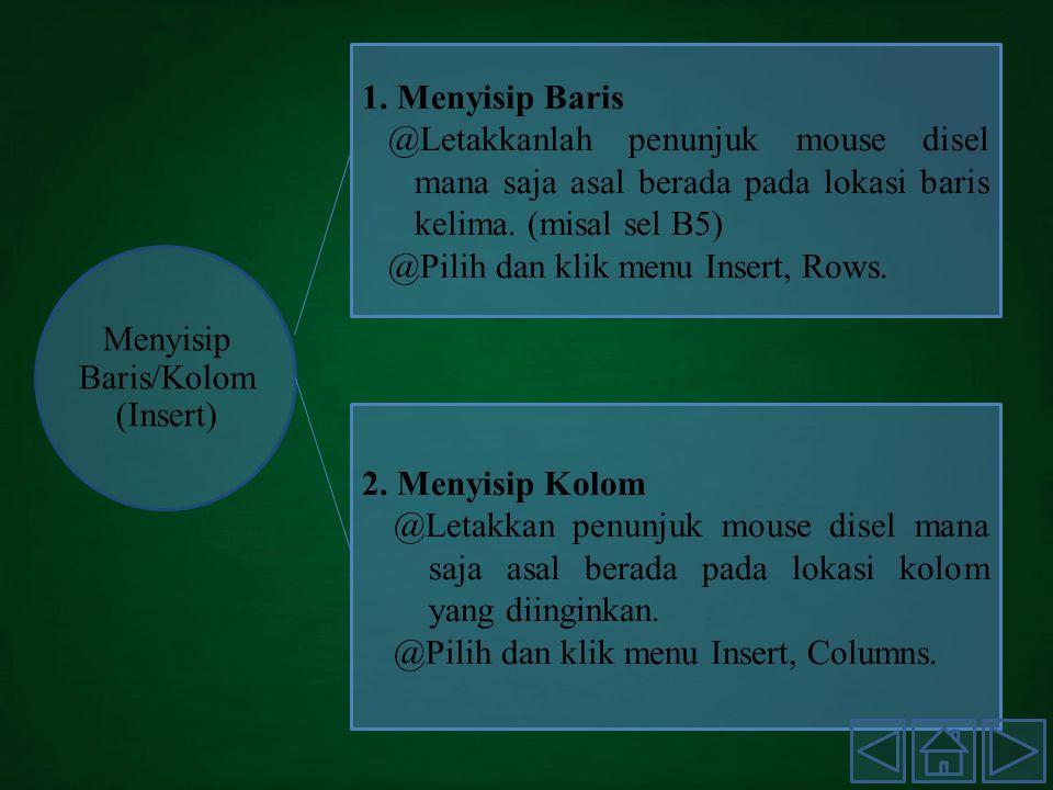 Menyisip Baris/Kolom (Insert) 1.