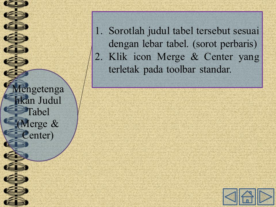 Mengetenga hkan Judul Tabel (Merge & Center) 1.Sorotlah judul tabel tersebut sesuai dengan lebar tabel.