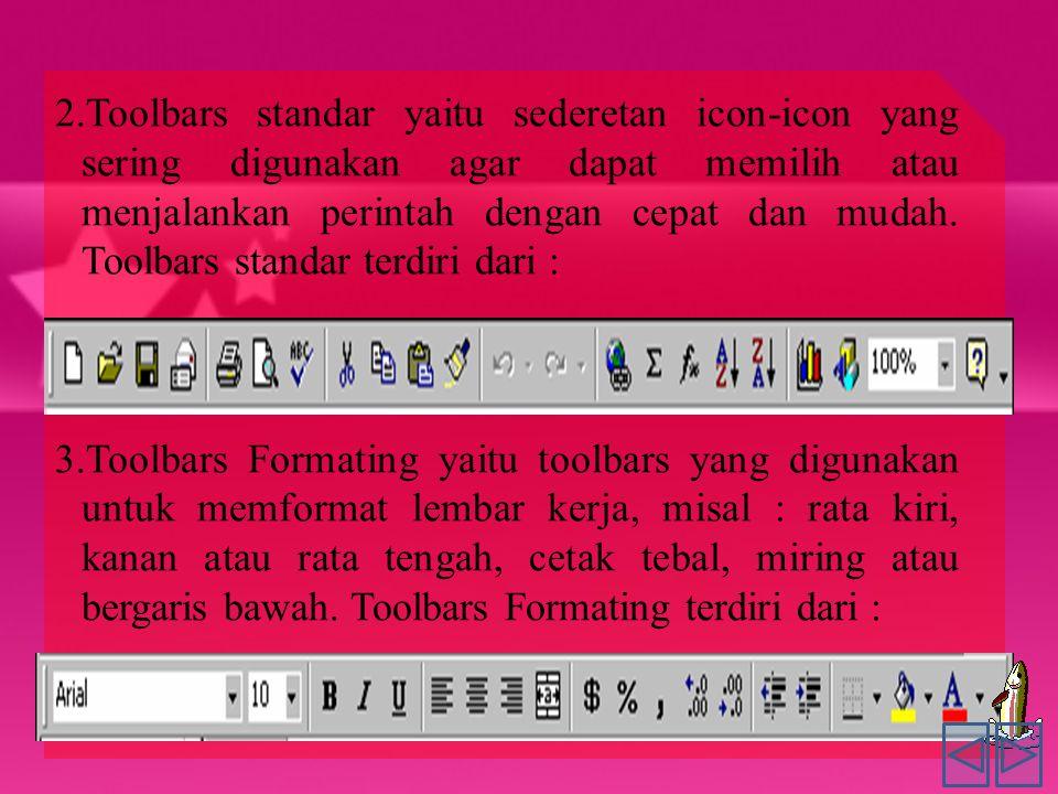 2.Toolbars standar yaitu sederetan icon-icon yang sering digunakan agar dapat memilih atau menjalankan perintah dengan cepat dan mudah.