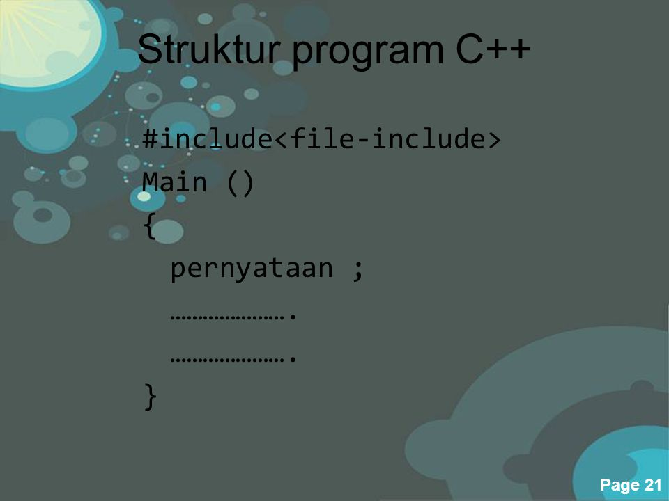 Powerpoint Templates Page 21 Struktur program C++ #include Main () { pernyataan ; …………………. }