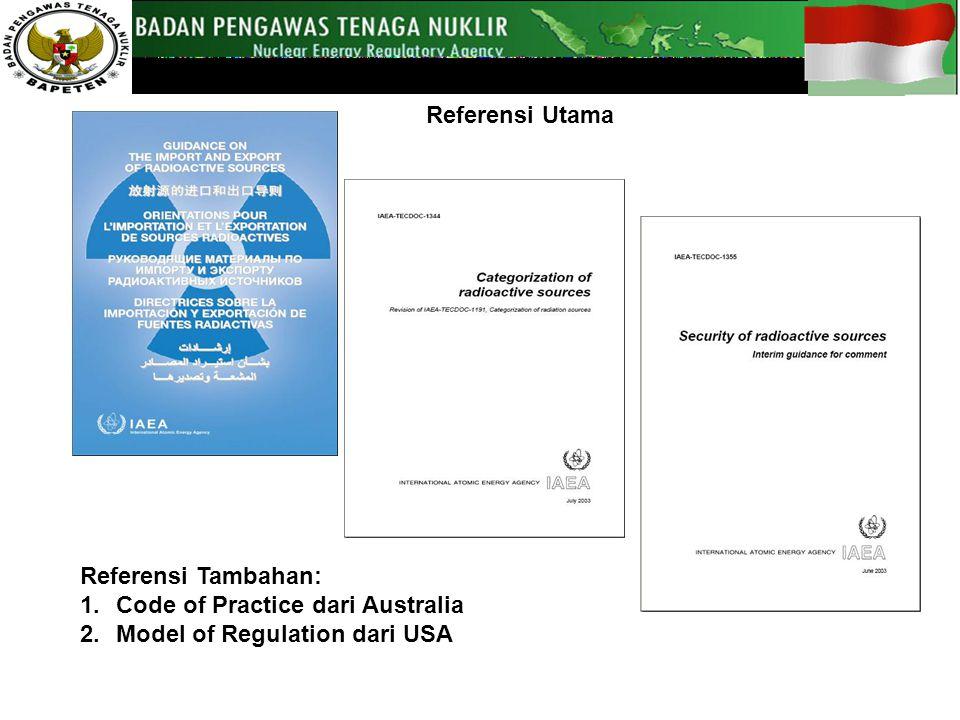Referensi Utama Referensi Tambahan: 1.Code of Practice dari Australia 2.Model of Regulation dari USA