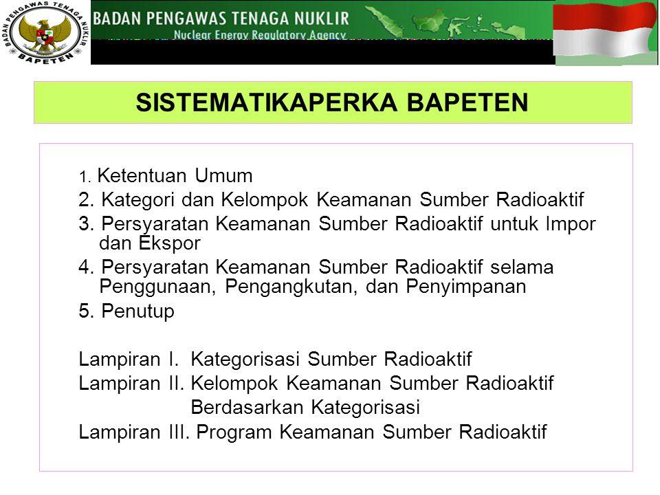 1.Ketentuan Umum 2. Kategori dan Kelompok Keamanan Sumber Radioaktif 3.