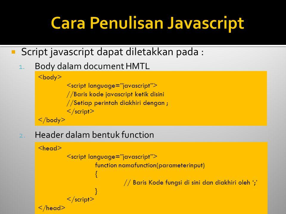  Script javascript dapat diletakkan pada : 1. Body dalam document HMTL 2. Header dalam bentuk function //Baris kode javascript ketik disini //Setiap